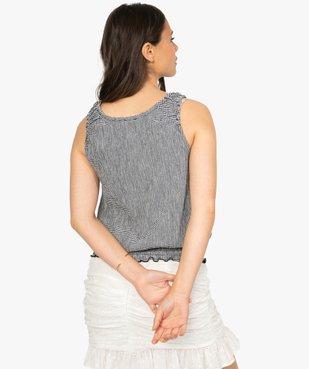 Tee-shirt femme sans manches en seersucker vichy et smocks vue3 - GEMO(FEMME PAP) - GEMO