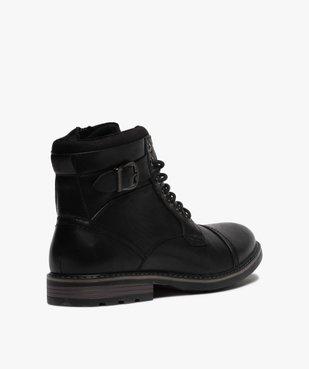 Boots homme unis doublure chaude fermeture lacets et zip vue4 - GEMO (CASUAL) - GEMO