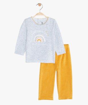 Pyjama bébé fille 2 pièces en velours à imprimé pailleté vue2 - GEMO(BB COUCHE) - GEMO