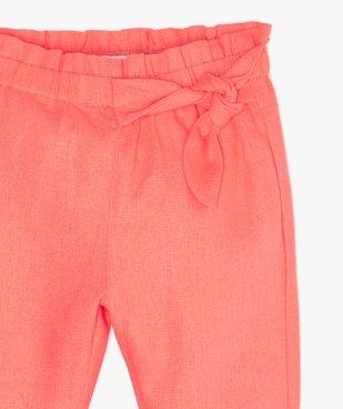 Pantalon bébé fille à taille élastiquée froncée vue2 - GEMO(BEBE DEBT) - GEMO