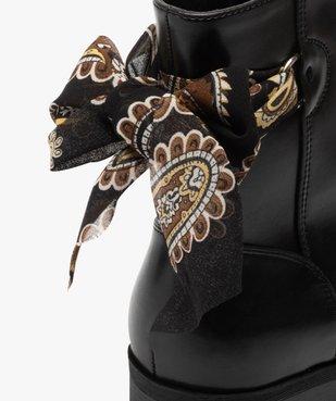 Boots femme à talon plat unis avec ruban fantaisie vue6 - GEMO (CASUAL) - GEMO