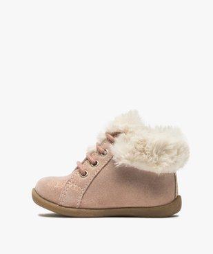 Chaussures premiers pas bébé fille en cuir à col fourré vue3 - Nikesneakers(BEBE DEBT) - Nikesneakers
