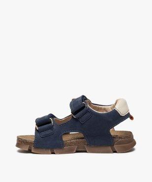 Sandales garçon tout terrain en cuir à scratchs - Bopy vue3 - BOPY - GEMO