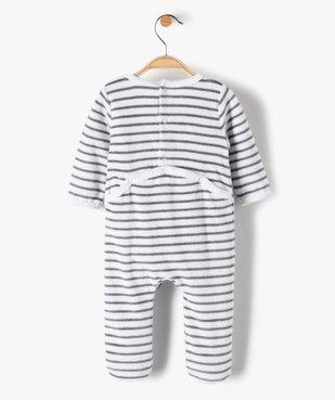 Pyjama bébé garçon en velours rayé et brodé vue4 - GEMO(BB COUCHE) - GEMO