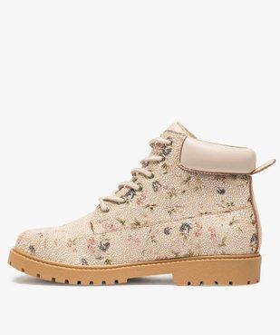 Boots femme à lacets col rembourré et semelle crantée Dessus imprimé fleuri vue3 - GEMO (CASUAL) - GEMO