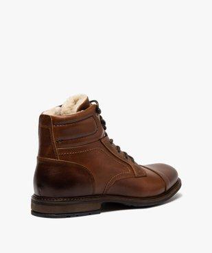 Boots homme à lacets dessus cuir et intérieur polaire vue4 - GEMO (CASUAL) - GEMO