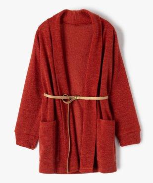 Gilet fille porté ouvert avec col châle et ceinture pailletée vue1 - GEMO (ENFANT) - GEMO
