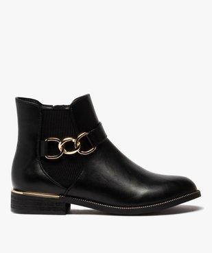 Boots femme unis à talon plat et chaine métallique vue1 - GEMO (CASUAL) - GEMO