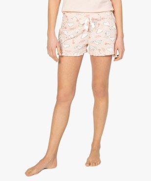 Short de pyjama femme imprimé à petits volants dans le bas motif chats all over vue1 - Nikesneakers(HOMWR FEM) - Nikesneakers