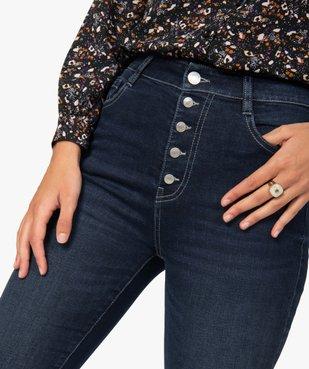 Jean femme skinny brut à taille haute et boutonnière vue2 - GEMO(FEMME PAP) - GEMO