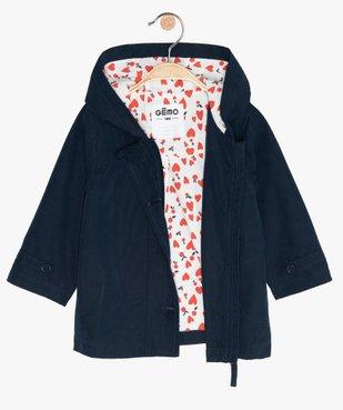 Manteau bébé fille zippé, fin, à capuche et doublure imprimée vue3 - GEMO(BEBE DEBT) - GEMO