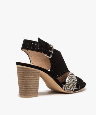 Sandales femme à talon rainuré et brides ajourées vue4 - GEMO(URBAIN) - GEMO