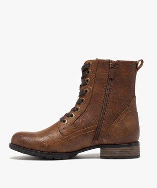 Boots femme zippées à talon plat et tige fantaisie vue3 - GEMO (CASUAL) - GEMO