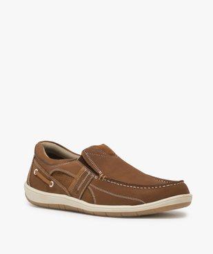 Chaussures bateau homme unies en cuir – Terre de Marins vue2 - TERRE DE MARINS - GEMO