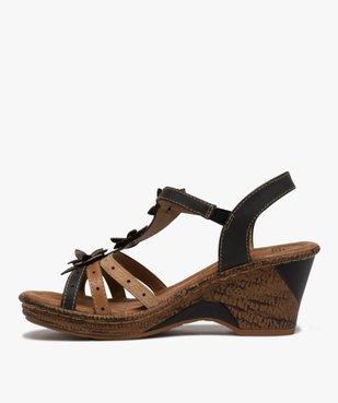 Sandales femme à talon compensé extra légères vue3 - GEMO(URBAIN) - GEMO