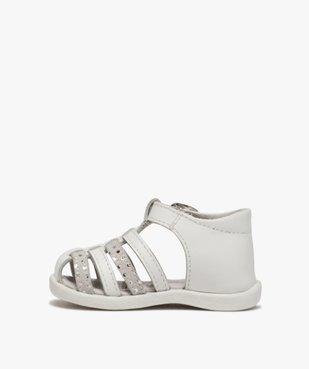 Sandales premiers pas bébé fille à brides en cuir vue3 - Nikesneakers(BEBE DEBT) - Nikesneakers