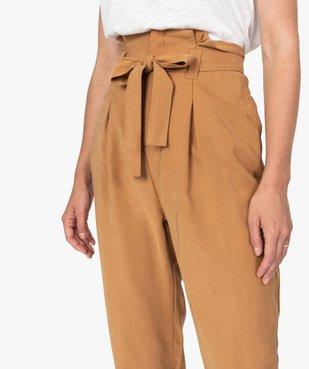 Pantalon femme coupe carotte taille haute vue2 - GEMO(FEMME PAP) - GEMO