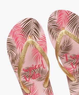 Tongs femme à motifs tropicaux et brides pailletées  vue3 - Nikesneakers (PLAGE) - Nikesneakers