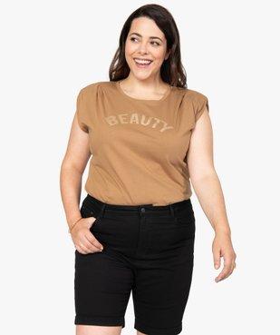 Tee-shirt femme à épaulettes avec message pailleté vue1 - Nikesneakers (G TAILLE) - Nikesneakers