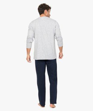 Pyjama homme à manches longues et pantalon large vue3 - GEMO(HOMWR HOM) - GEMO