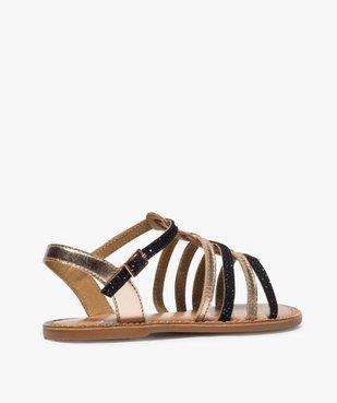 Sandales fille style tropéziennes en cuir métallisé vue4 - GEMO (ENFANT) - GEMO