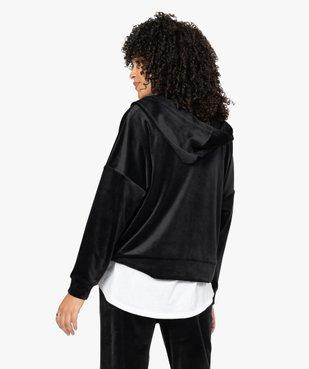 Sweat femme zippé à capuche en velours vue3 - GEMO(FEMME PAP) - GEMO