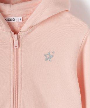 Sweat fille à capuche avec doublure contrastante vue2 - GEMO (ENFANT) - GEMO