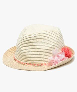 Chapeau fille avec ruban tressé et fleurs en relief vue1 - Nikesneakers (ENFANT) - Nikesneakers