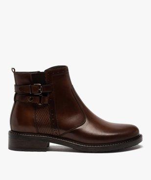 Boots femme unis à talon plat dessus cuir à bords ajourés vue1 - GEMO (CASUAL) - GEMO