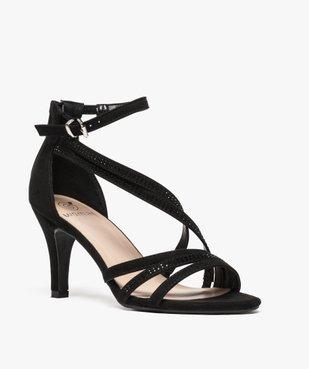 Sandales femme à talon avec fines brides brillantes vue2 - GEMO(URBAIN) - GEMO