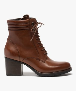 Boots femme unis à talon dessus cuir à lacets vue1 - GEMO(URBAIN) - GEMO