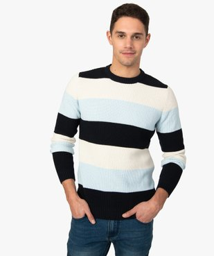 Pull homme à larges bandes colorées vue1 - GEMO (HOMME) - GEMO