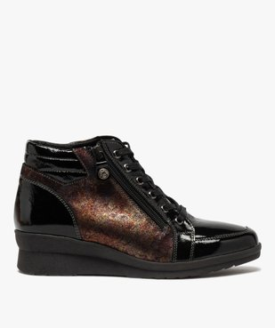 Boots femme confort zippées à talon compensé  vue1 - GEMO (CASUAL) - GEMO