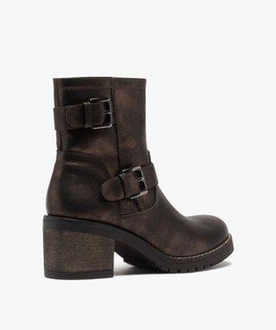 Boots femme métallisées à talon carré et semelle crantée vue4 - GEMO(URBAIN) - GEMO