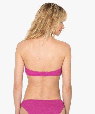 Haut de maillot de bain femme forme bandeau en maille gaufrée vue2 - GEMO (PLAGE) - GEMO