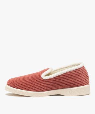 Chaussons femme style charentaises en velours côtelé uni vue3 - Nikesneakers(HOMWR FEM) - Nikesneakers