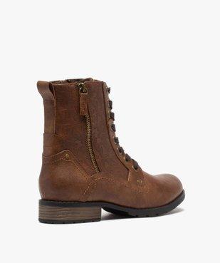 Boots femme zippées à talon plat et tige fantaisie vue4 - GEMO (CASUAL) - GEMO