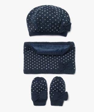 Ensemble 3 pièces bébé fille : bonnet + tour de cou + moufles vue1 - GEMO(BEBE DEBT) - GEMO