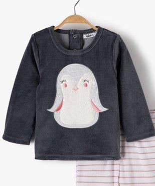 Pyjama bébé fille 2 pièces avec motif pingouin  vue2 - GEMO(BB COUCHE) - GEMO