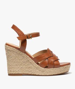 Sandales femme à talon compensé dessus imitation croco vue1 - GEMO(URBAIN) - GEMO