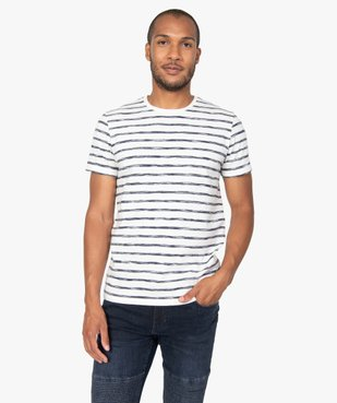 Tee-shirt homme à rayures graphiques vue1 - GEMO (HOMME) - GEMO