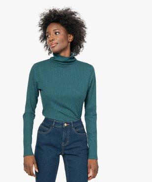 Tee-shirt femme en maille côtelée manches longues et col montant vue1 - GEMO(FEMME PAP) - GEMO