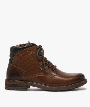 Boots homme zippés à lacets dessus cuir et col rembourré vue1 - GEMO (CASUAL) - GEMO