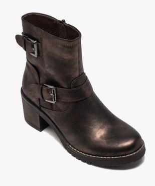Boots femme métallisées à talon carré et semelle crantée vue5 - GEMO(URBAIN) - GEMO