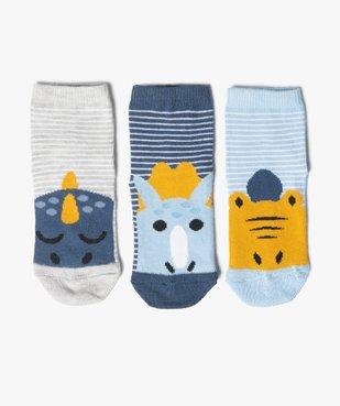Chaussettes bébé à rayures et motif dinosaure (lot de 3) vue1 - Nikesneakers C4G BEBE - Nikesneakers