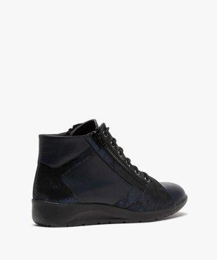 Boots femme confort zippées à talon compensé dessus cuir vue4 - GEMO (CONFORT) - GEMO