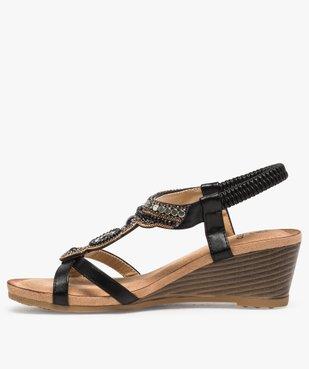 Sandales femme à talon et brides élastiques dessus perles vue3 - GEMO(URBAIN) - GEMO