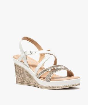 Sandales femme à talon compensé et strass vue2 - GEMO(URBAIN) - GEMO