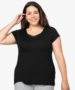 Tee-shirt de nuit femme avec col V bordé de dentelle vue1 - GEMO(HOMWR FEM) - GEMO
