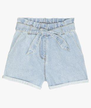 Short fille en jean taille haute avec ceinture à nouer vue1 - GEMO (JUNIOR) - GEMO